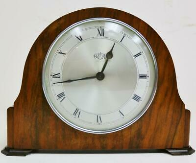 Antique English Garrard 8 Day Walnut Mantel Clock With Platform Escapement