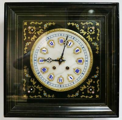 Rare Antique French 8 Day Gong Striking Wall Clock With Boulle & Enamel Inlays