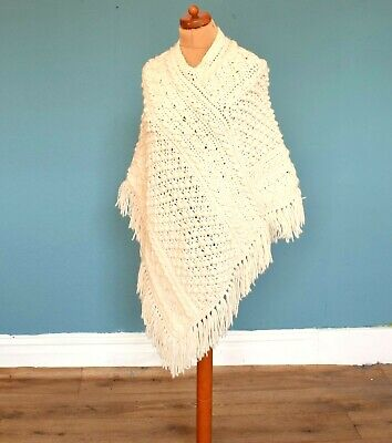 Women's Vintage 70's Cream Tassled Shawl Poncho Retro Boho Medium