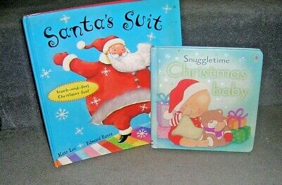 2x Xmas Board Books, Touch & Feel, Christmas Baby & Santa's Suit