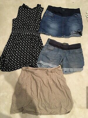 Maternity Size 10 Summer Holiday Bundle Denim Shorts Dress 2 Skirts