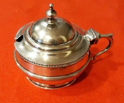 English Sterling Silver Salt Cellar With Blue Cobalt Glass Insert & Hinged Cover