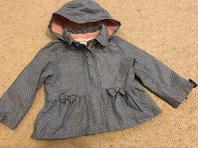 TU Girls Blue Spotty Shower Proof Fleece Lined Jacket Coat. Age 2-3 Years
