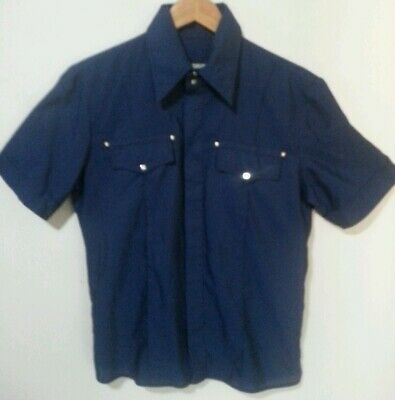 Versace Jeans Couture Vintage Silver Madusa Logo Blue Brushed Satin Shirt Size