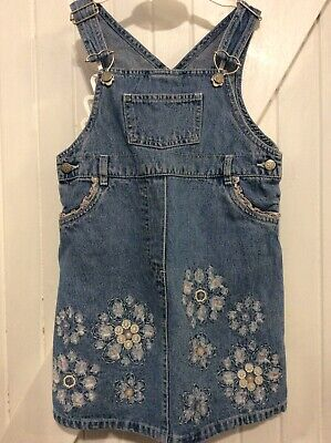 Retro Mothercare Age 3-4 Years dress Denim Pinafore Retro Floral & Button Detail