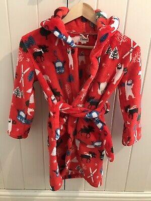HATLEY Red Dressing Gown Fleece Robe Size Age 6-7