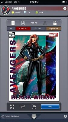 Topps Marvel Collect Digital black widow 250cc avengers first printing