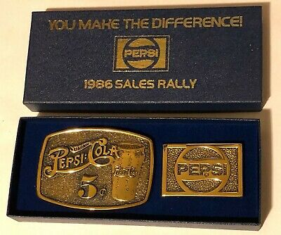 Vintage Pepsi Cola Advertising 1986 Sales Rally Brass Belt Buckle Set New w/ Box