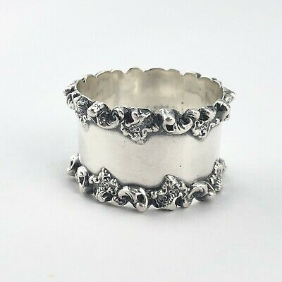 Antique Towle Sterling silver napkin ring with applied scroll border 27.4g