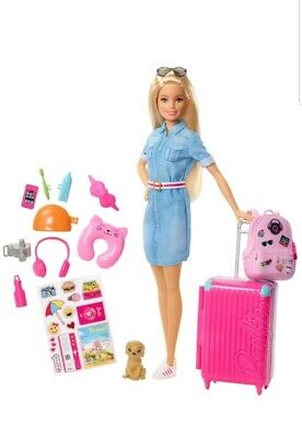 Barbie Travel Doll and Puppy Playset Kid Girl Toy Gift For Birthday,Christmas
