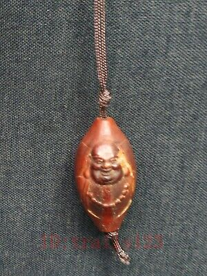 Collection Old China Hand Carving olive Maitreya Buddha Statue Pendant Amulet