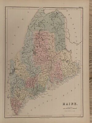 1854 Maine Large Hand Coloured Antique Map 165 Years Old By John Bartholomew