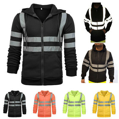 HI  VIS Reflective Tape Hooded Jacket FullZip Safety Hoodie Workwear Jumper Top