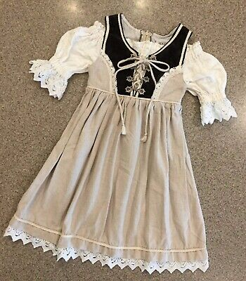 ST PETER COUNTRY KIDS Traditional German Dirndl Dress Pewter Clasp Sz 92 (2-3T)