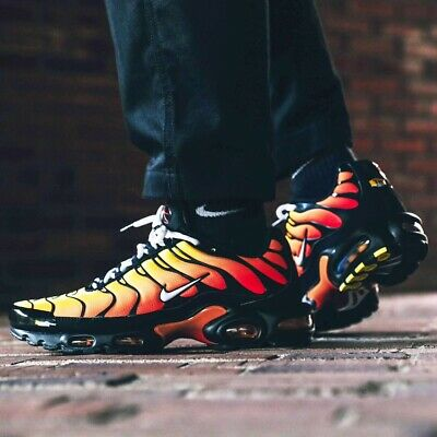 Nike Men's Air Max Plus Tiger Black White Orange (852630-040) Size 10 US