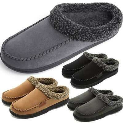 Men Fleece Lining Moccasin Slippers Indoor/Outdoor Microsuede Slip On House Shoe