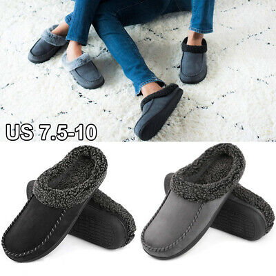 Mens Memory Foam Moccasin Suede Slippers Fuzzy Lining Mules Clogs House Shoes US
