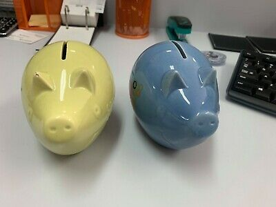 commonwealth savings bank rare ceramic pig money boxes x2