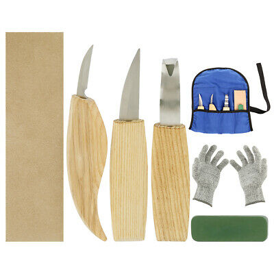 BLue Wood Carving Tools Chisel Woodworking Whittling Cutter Chip Hand  Gloves''