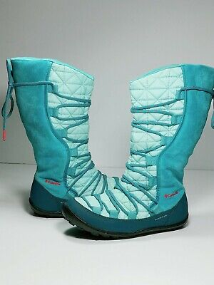 Columbia Youth Loveland Omni-Heat Boots Big Girls size 3 Warm Winter Spray Turq.