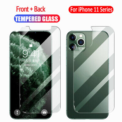 For iPhone 11 Pro/Max Front Back Tempered Glass Screen Protector Protective Film