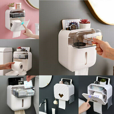 Wall Mounted Toilet Paper Holders Bathroom Paper Dispenser Tray Roll Storage Box
