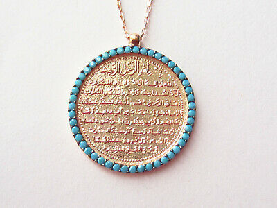 Turkish Rose Gold 925 Sterling Silver Turquoise Islam Necklace