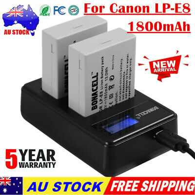 2X 1800mAh LP-E8 Battery + LCD Dual Charger For Canon EOS Kiss X4 550D 600D 700D