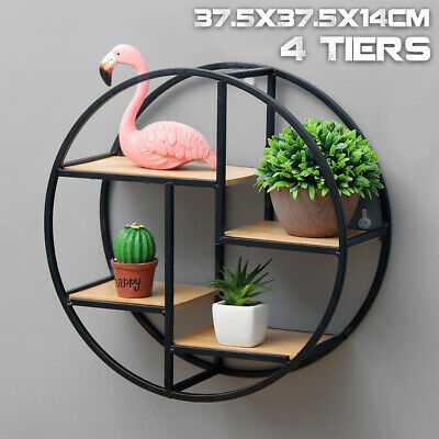 Retro Industrial Style Wood Metal Wall Shelves Rack Storage Round Display Unit