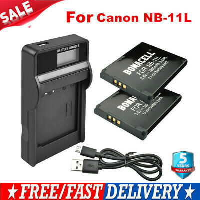 2X 1000mAh NB-11L Battery / LCD Charger for Canon PowerShot A2300 A2500 A2400 IS
