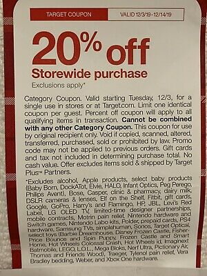 Target 20% Off Coupon - Valid from 12/3-12/14/19 . Online or in store.