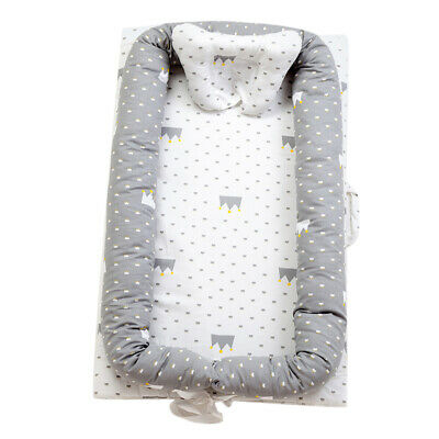 GREY CROWN COTTON BABY BASSINET CO-SLEEPING BABY For BED BEDROOM/TRAVEL 0-2 YEAR