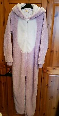 John Lewis Girls Sparkly Fluffy Unicorn Hooded One piece Nightwear. Age 13. Used