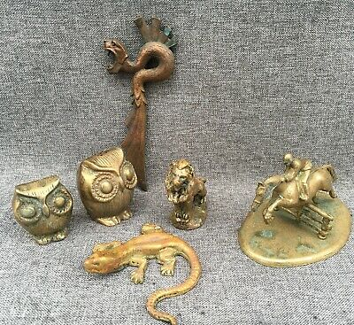 6 small antique french bronze brass figures sculptures lot lion dragon owls