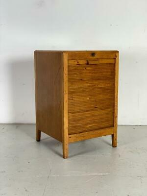 Vintage Early 20Th Century Oak Tambour Filing Cabinet Chest #2829
