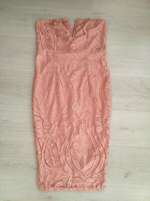 Pretty Little Thing Pink Lace Strapless Pencil Dress Size 14