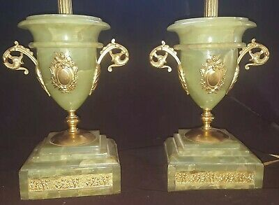 Pair Of Antique Green Onyx French Ormolu Neo Classical Urn Table Lamps