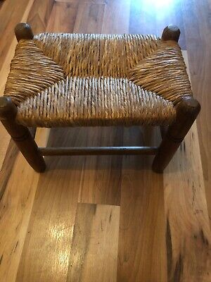 Pretty Little Antique Stool With Straw Top
