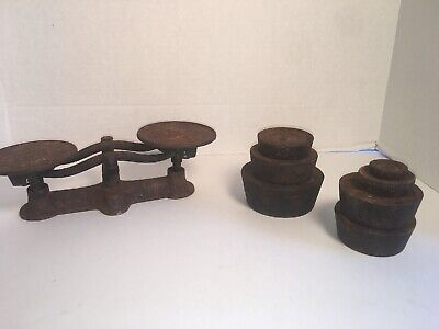 Bintage Antique Balance Scale With Iron Weights