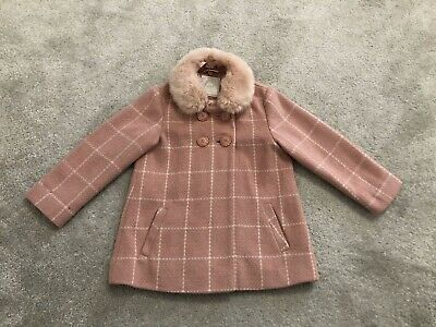 Gorgeous Next Girls Coat Pink With Detachable Hood Age 3-4 Yrs