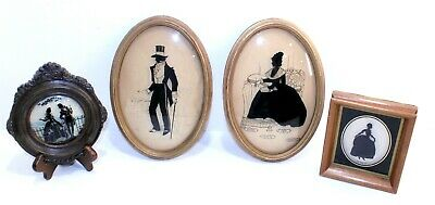 4 Antique Silhouette Portraits 3 Victorian Oval Dome Glass & C A Richards