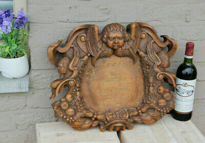 Huge antique Wood carved Wall plaque putti angel head caryatids fruit decor