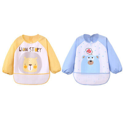 Lovely Baby Toddler Waterproof Cartoon Long Sleeve Bibs Kids Feeding Smock Apron
