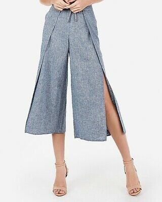 New Express  High Waisted Chambray Cropped Culottes Size XL