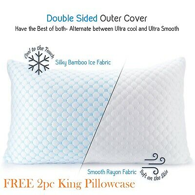Cooling Memory Foam Pillow Ventilated Bed Pillow Infused Cooling Gel King 2 Pack