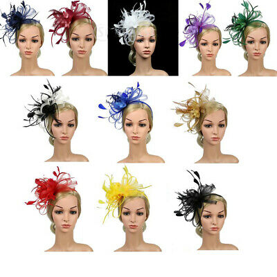 Women's Feather Bowknot Fascinator Headband Clip Wedding Royal Ascot Races
