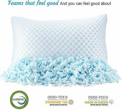 Cooling Memory Foam Pillow Ventilated Bed Pillow Infused Cooling Gel Queen 2 pc