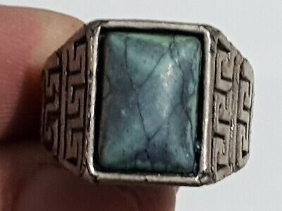 Fantastic Medieval Silver Ring With Intaglio Very Rare  Stone 6,6 Gr 20 Mm