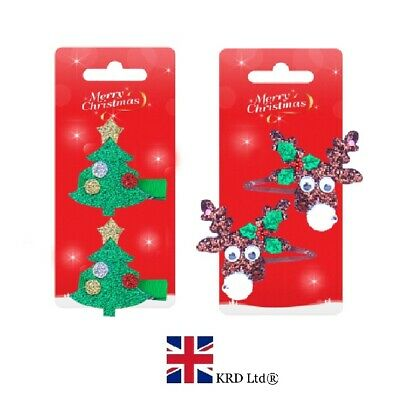 2 x MERRY CHRISTMAS HAIR CLIPS Ladies Girls Kids Baby Snaps Xmas Gift Pack UK