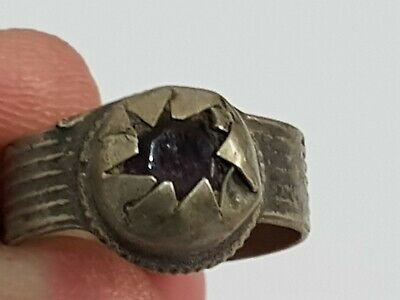 Exeptional Extremely Rare Ancient Intact Bronze Ring Rare Stone 3,6 Gr 18 Mm